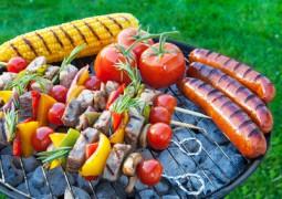 Barbecue dans le jardin avec des brochettes des légume setc
