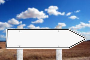 panneau blanc de direction