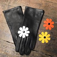 gant cuir femme avec une fleur